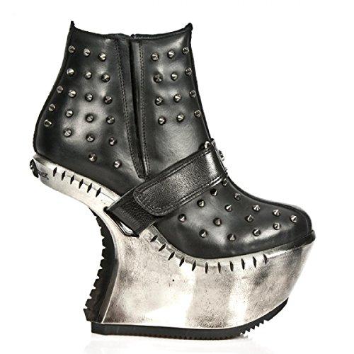 New Rock Boots M.ext007-r1 Gotico Hardrock Punk Damen Stiefelette Schwarz