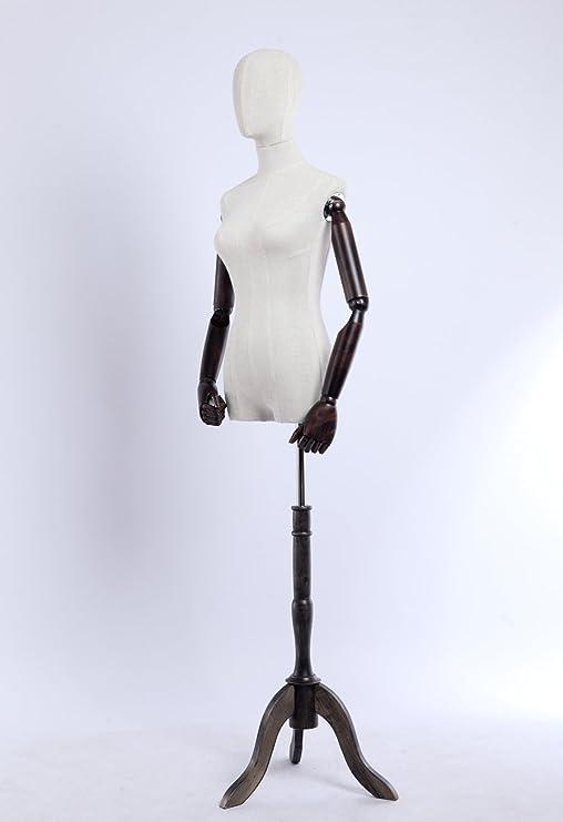 madera acero inoxidable B-3-T-G weiblich negro Euroton pantalla Maniqu/í, lino funda stoffbezogenen tronco y cabeza, brazos y dedos de madera beliebig ajustable, soporte de madera oscura