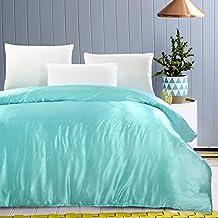 Zhiyuan Luxury Bedding Reversible Silky Satin Duvet Cover No Comforter Twin, Light Blue
