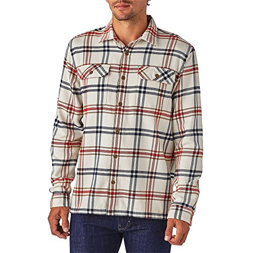 Patagonia Mens L/S Fjord Flannel Shirt, Windrow: Toasted White, M