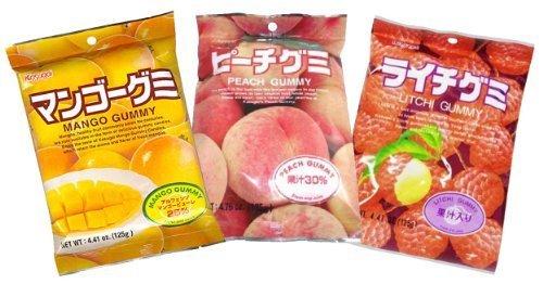 Japanese Fruit Gummy Tripak Sampler - Mango, White Peach, Litchi (Lychee) by Kasugai ()
