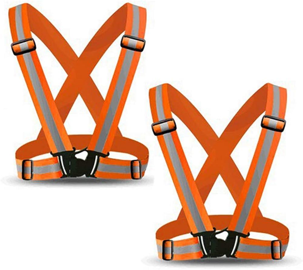 Heflashor Warnweste Sicherheitsweste mit Einstellbarem 360/° Reflektierendem Etikett Warnwesten H/öhe Sichtbarkeit Sport f/ür Fahrrad Laufen Running Motorrad Camping