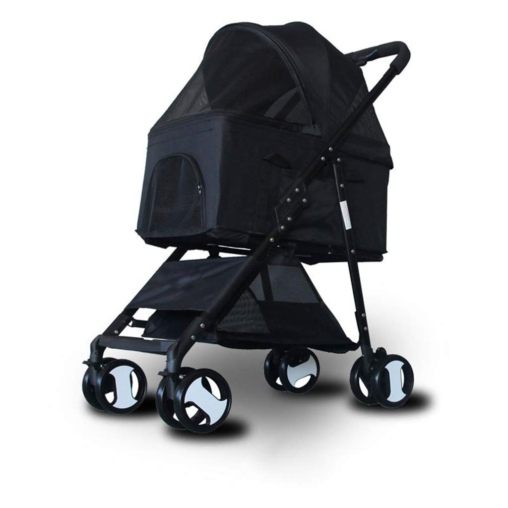 Black YZONG 3-in-1 Pet Stroller, Car Nest, Satchel, Pet Stroller, 4 Wheels, Detachable, Simple Folding, Cat Dog Travel Cart, Suitable for Small and Medium Cats Dogs,Black