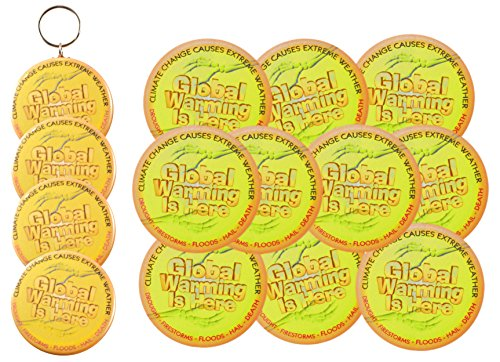 Global Warming Bundle 14 items: 10 Stickers 1 keychain 1 Magnets 2 buttons