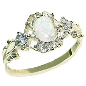 925 Sterling Silver Natural Opal and Diamond Womens Trilogy Ring Sizes 4 to 12 Available