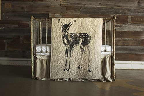 Standing Fawn - Linen Crib Quilt - 36x45 by The Barn Social