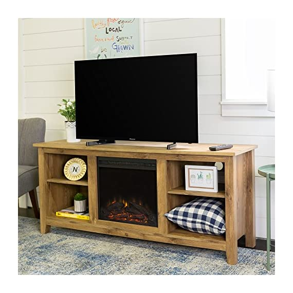 New 58 Inch Wide Honey Colored Television Stand with Fireplace Insert - Item ships within 1 business day! Any order that is received before 12:00 noon MST will ship out same business day!! Includes electric fireplace insert, No electrician required, simple plug-in unit Dimensions of each side component space is 15 inches wide by 13.5 inches deep, with an adjustable/omittable shelf - tv-stands, living-room-furniture, living-room - 51yzM88tL2L. SS570  -