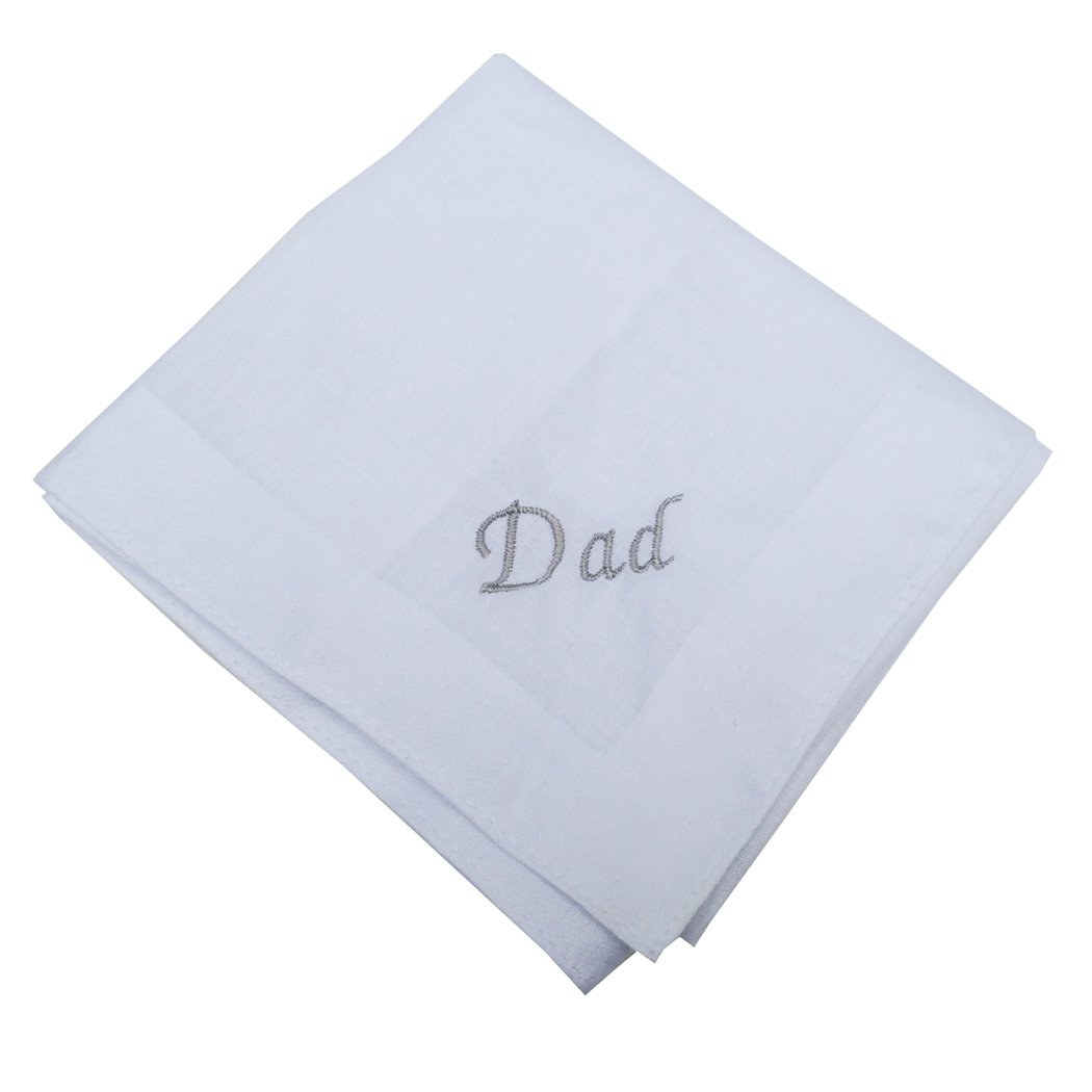 OWM Handkerchief Wedding Cotton Embroidered Monogram Handkerchief For Dad