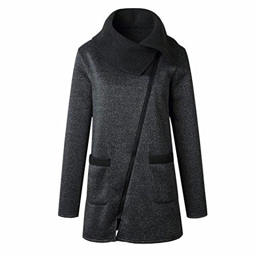 SHOBDW Manteaux Femme Hiver Chaud Casual Tops Blouson Tops Mode,Grande Taille Maxi S-XXXXXL Gris Fonc