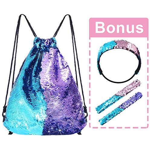 Pawliss Mermaid Reversible Sequin Drawstring Backpack with Bonus Slap Bracelet & Headband Set, Magic Glittering Dance Bag, Blue & Purple, 4pcs