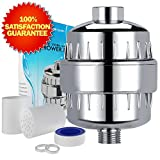 Universal Shower Head Water Filter - Works Best to Remove Chlorine & Hard Water with any Showerhead - 2 Water-Softener Replaceable Multi-Stage Cartridges - By Natural Rapids, Chrome