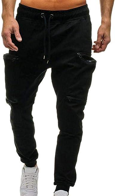 Black-Large Ms lily Mens Elastic Waist Casual Pants