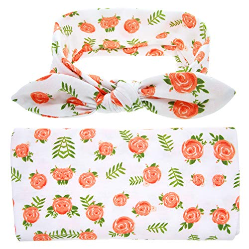 Newborn Receiving Blanket Headband Set Flower Printing Baby Photography Prop Blanket Swaddle Receiving Blankets for Girls(Orange)