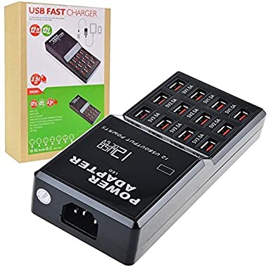 Cargador USB Multi port cargador rápido, 60 W 12 puertos USB ...