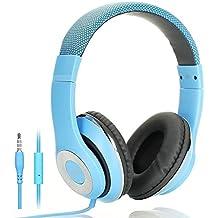 AUSDOM Lightweght Wire Over-Ear HD Stereo Headset Ear tazas de piel suave con micrófono In-Line, Azul
