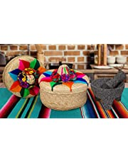 2-Pack Genuine Mexican Handwoven Tortilla Basket, Fiesta Mexican Tortilla Warmer, Tortilla Holder, Tortillero, Palm Straw Baskets Handmade in Mexico, Mexican Bowls (3, Floral y Molcajete)