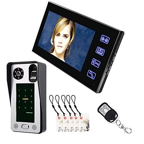 Love of Life Smart Door Lock Camera 7 inch Fingerprint IC Card Video Door Phone Intercom Doorbell with Door Access Control System Night Vision