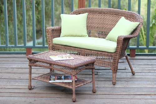 Jeco W00207-LCS029 Wicker Patio Love Seat and Coffee Table Set with Green Cushion Black