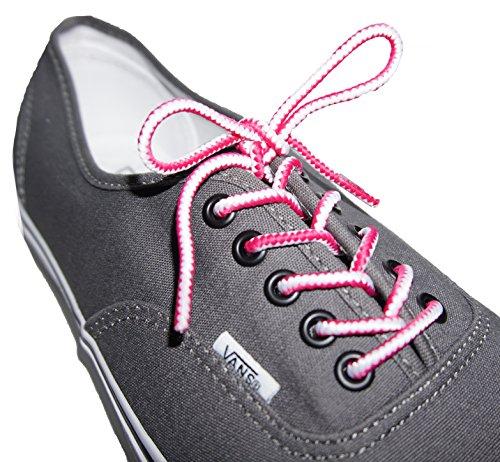 Shoeslulu 35-46 Premium Ronde Stevige Wandelschoen Sneakers Schoenveters True Wit / Fuchsia Roze