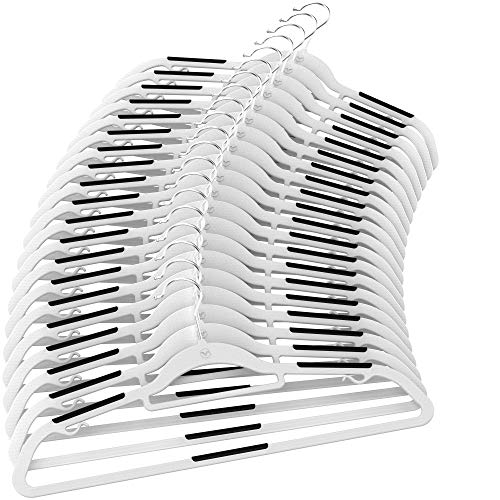 Vremi Clothes Hangers 20 Pack - Non Slip Durable Ultra Slim Plastic Hanger Set with Strips and Metal Hooks - Gray and Black