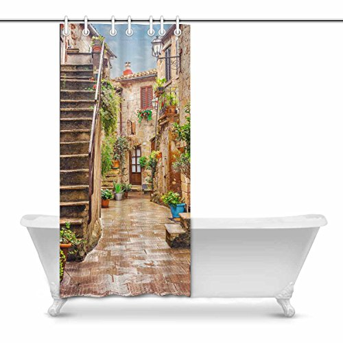 InterestPrint Alley in Old Town Pitigliano Tuscany Italy Polyester Fabric Bathroom Shower Curtain Set with Hooks, 36 x 72 Inches