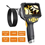 YINAMA Industrial Endoscope 4.3inch LCD 1080P HD Borescope 1.6-198inch Focal Distance IP67 Waterproof Snake Inspection Camera with 2600mAh Rechargeable Battery 8G SD Card 16.4FT