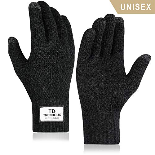 TRENDOUX Winter Gloves, Unisex Knit Touch Screen Minimalism Glove Men Women Texting Smartphone Driving - Thermal Soft Wool Lining - Elastic Cuff - Keep Warm in Cold Weather - Black - M