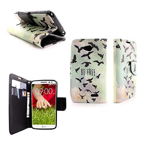 Flip Wallet Case for LG Optimus L70 Exceed 2 Realm Pulse Ultimate 2 L41C by CoverON - Free Bird Design Cover + Screen Protector (Lg Case Optimus Brown L70)