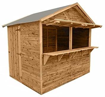 Venta Stand 250 x 180 x 245 cm puesto de mercado, cabaña de venta venta de madera de cajones (KDI) con suelo y techo cartón: Amazon.es: Jardín
