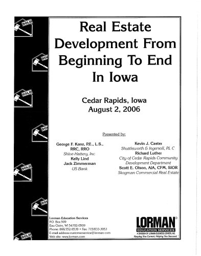 Book cover from Real Estate Development From Beginning To End in Iowa by Les Beck