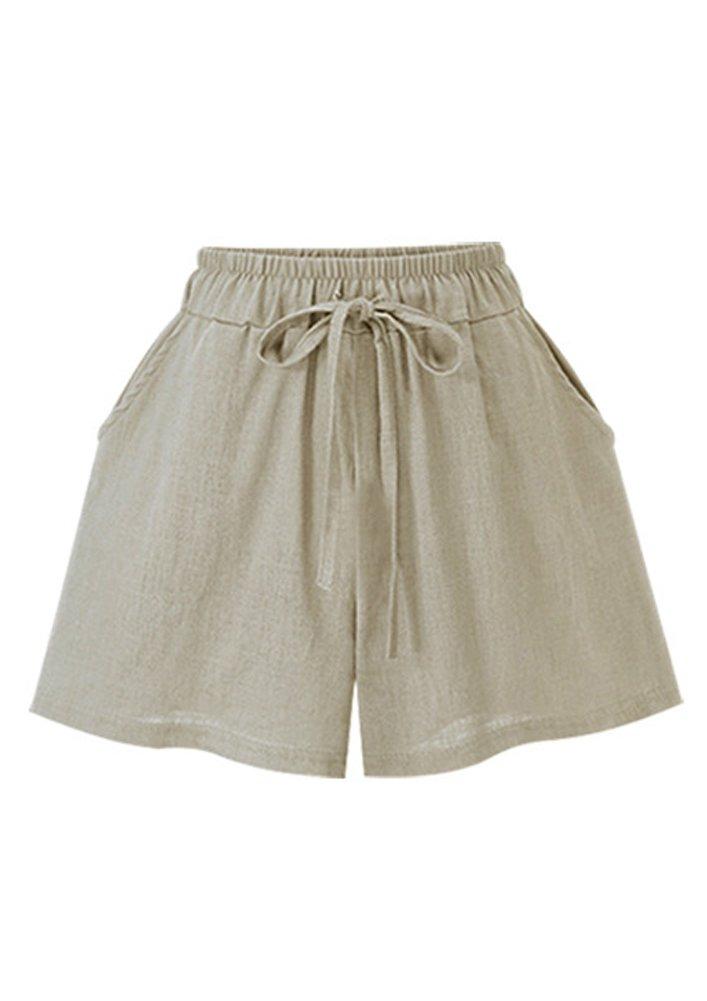 FunkyAmy Womens Cotton Wide Leg Summer Clearance Shorts Elastic Waist with Drawstring FA-SH-008