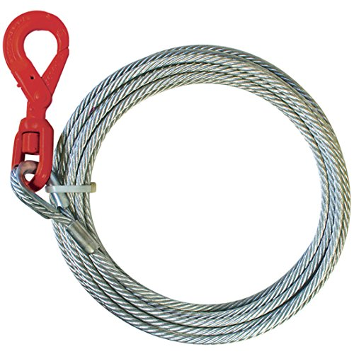 Vulcan Classic Galvanized Steel Core Winch Cable With Self-Locking Swivel Hook - 15,100 lbs. Minimum Breaking Strength (3/8'' x 50') (Self Locking Hook)