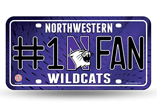 Rico NCAA Northwestern Wildcats #1 Fan Metal Tag License Plate