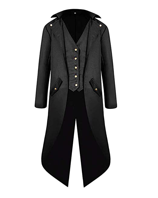 VERNASSA Hombres Steampunk Retro Chaqueta, Gótico Vintage Victorian Coat,Abrigo Renacentista Medieval Tailcoat para Halloween Christmas Cosplay Party ...
