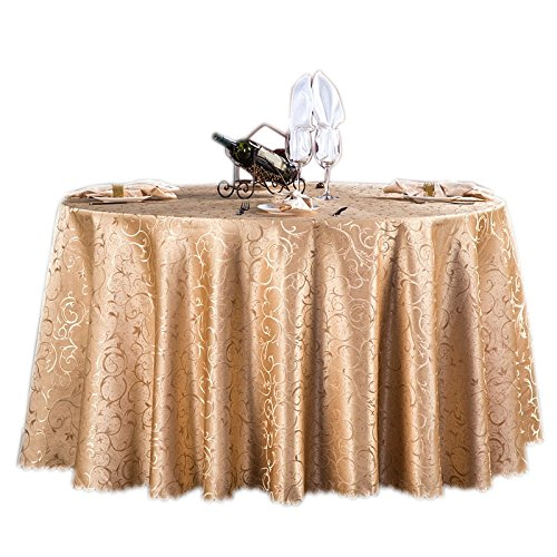[Moldiy Contemporary Tablecloth Fabric Table Cover Woven Overlays with Jacquard Pattern for Banquet/Parties/Festival,Beige,87-Inch Round] (Jacquard Tablecloth Fabric)