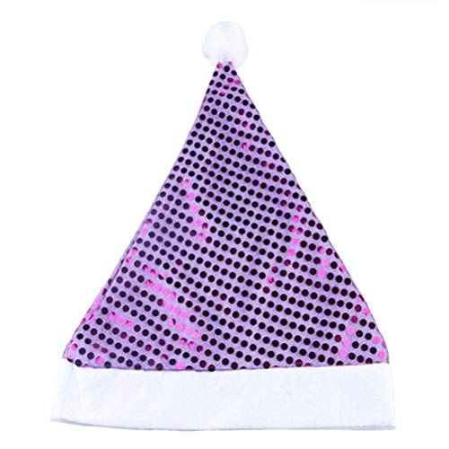 (BinaryABC Christmas Santa Claus Hat,Christmas Party Supplies,Glittering Sequin Hat(Purple))