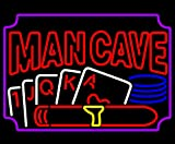 iecool MAN CAVE Poker Neon Sign 20''x24'' Real Glass Bright Neon Light for Mancave Beer Bar Pub Garage Room