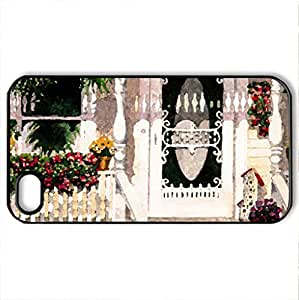 Grannies Porch - Case Cover for iPhone 4 and 4s (Houses Series, Watercolor style, Black)