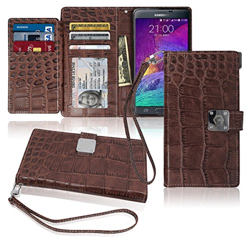 Note4 Wallet Case, Matt [ 8 Pockets ] 7 ID / Credit Card 1 Cash Slot, Power Magnetic Clip With Wrist Strap For Samsung Galaxy Note 4 Leather Cover Flip - Stores Falls The Miami