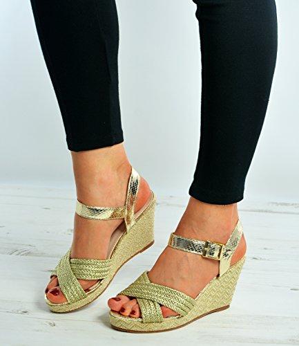 Cucu Fashion - plataforma mujer dorado
