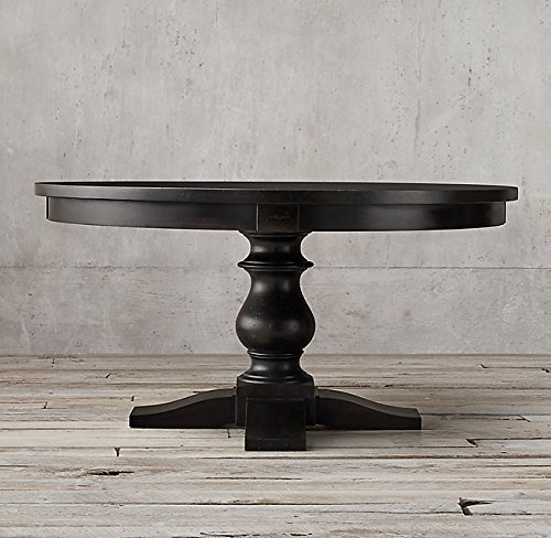 mesa comedor redonda negra 100-120 - 140-160 cm madera maciza a ...