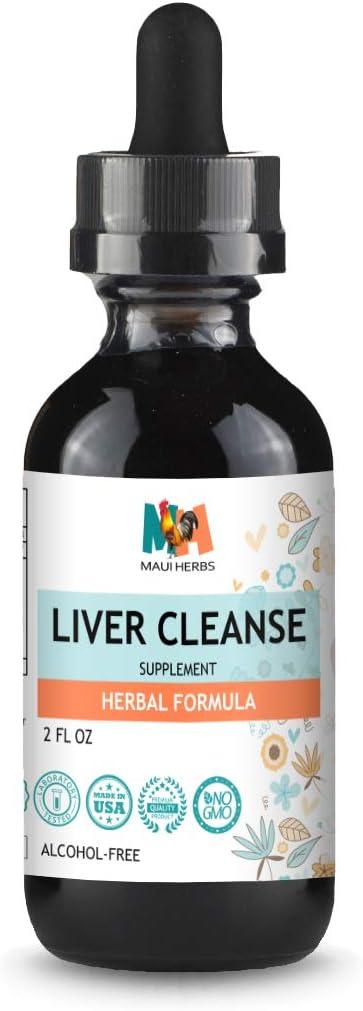 Maui Herbs Liver Cleanse Tincture Liquid Extract 2 fl oz Herbal Formula Milk Thistle, Chanca Piedra, Turmeric, Dandelion, Artichoke
