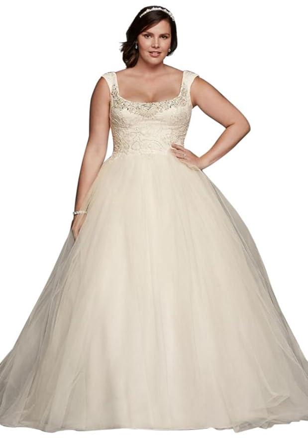 David\'s Bridal Plus Size Oleg Cassini Off The Shoulder Lace Wedding ...