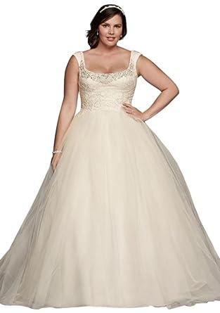 e90768a32d31 Plus Size Oleg Cassini Off The Shoulder Lace Wedding Dress Style 8CWG733,  Ivory, 16W