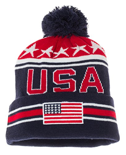 Artisan Owl USA United States Of America Patriotic Winter Knit Pom Pom Beanie Hat With Cuff (Blue With White Stars)