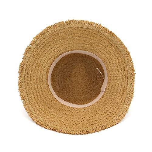 Adjustable De Klerokoh Size Sombreros Mujer Khaki Khaki Verano Paja color Ancha Para Ala Soleados 7UxFHUw