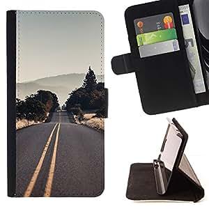 Momo Phone Case / Flip Funda de Cuero Case Cover - Vaciar la carretera EE.UU.;;;;;;;; - Samsung Galaxy S6