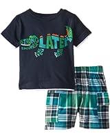 Kids Headquarters Baby Boys' Navy Tee with Plaid Shorts   Gator