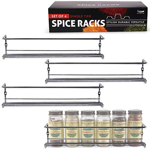 (Elegant Spice Rack Organizer For Cabinet or Wall Mount - Set of 4 Hanging Chrome Racks - Perfect Seasoning Organizer For Your Kitchen Cabinet, Cupboard or Pantry Door)
