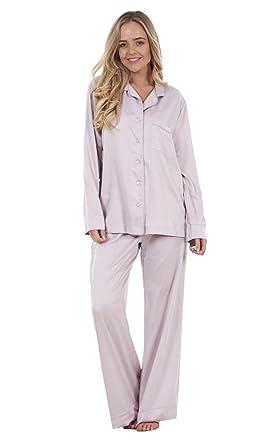 Printed Silky Satin Pyjamas Long Sleeve Nightwear Silk PJ/'S Ladies Plain